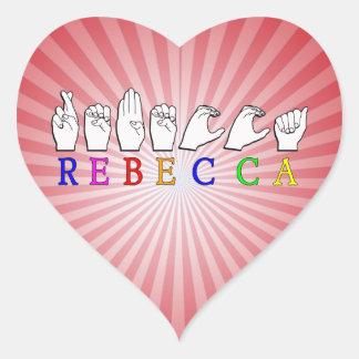 REBECCA ASL FINGERSPELLED NAME SIGN HEART STICKER