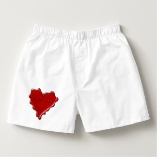Rebecca. Red heart wax seal with name Rebecca Boxers