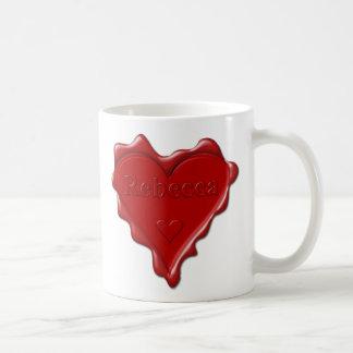 Rebecca. Red heart wax seal with name Rebecca Coffee Mug
