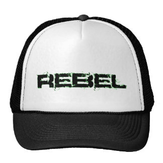REBEL unique font in black and lime green! Hat