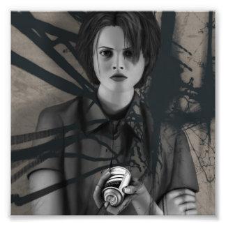 Rebellious Spray Paint Graffiti Artist Digital Art Photographic Print