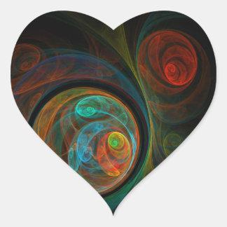 Rebirth Blue Abstract Art Heart Sticker