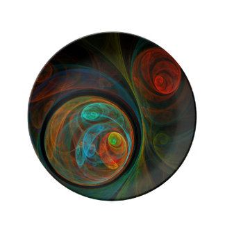 Rebirth Blue Abstract Art Plate