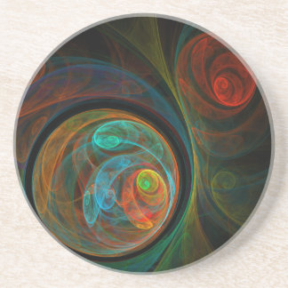 Rebirth Blue Abstract Art Sandstone Coaster