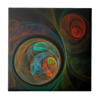 Rebirth Blue Abstract Art Tile