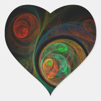 Rebirth Green Abstract Art Heart Sticker
