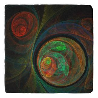 Rebirth Green Abstract Art Stone Trivet