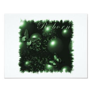Reborn Butterflies Christian Art Green 11 Cm X 14 Cm Invitation Card