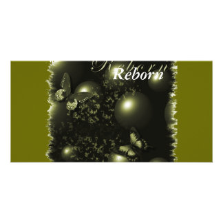 Reborn Christmas Green Bookmarker Customised Photo Card