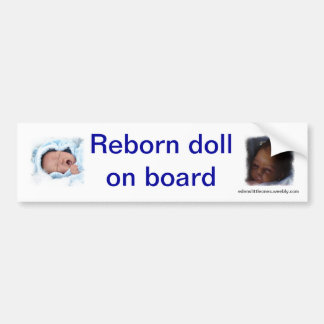 Reborn doll on board bumpsticker bumper sticker
