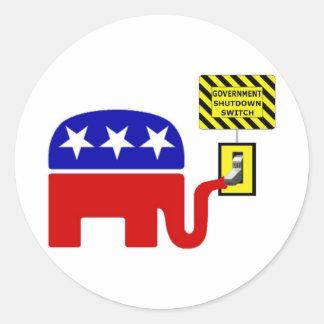 Rebuplican Government Shutdown 2011 Sticker