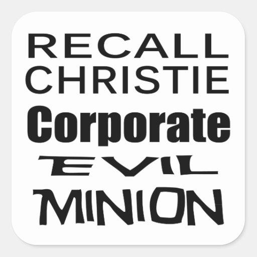 Recall Governor Chris Christie Koch Oil's Minion Sticker