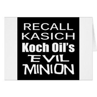 Recall Governor John Kasich Koch Oil's Minion Greeting Card