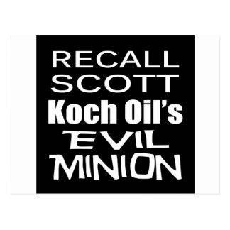Recall Governor Rick Scott Koch Oil's  Evil Minion Post Card