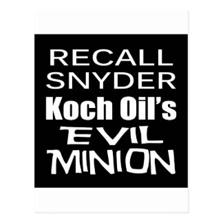 Recall Governor Rick Snyder Evil Corporate Minion Postcard