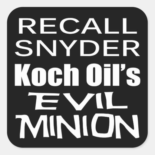 Recall Governor Rick Snyder Evil Corporate Minion Stickers