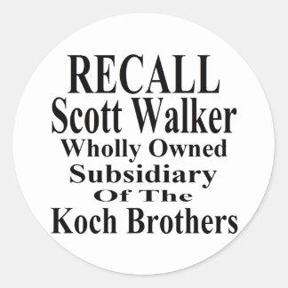 Recall Governor Scott Walker Corporate Minion Classic Round Sticker