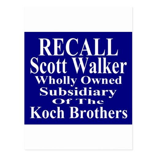 Recall Governor Scott Walker Corporate Minion Postcards