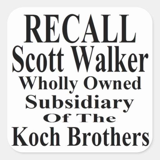 Recall Governor Scott Walker Corporate Minion Square Sticker