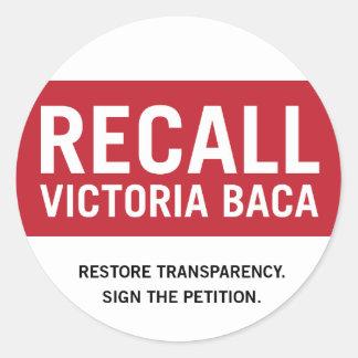Recall Victoria Baca Stickers