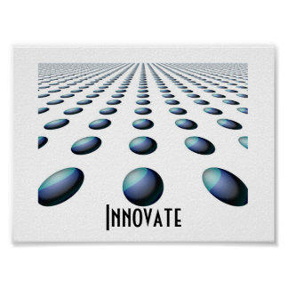 Receding Blue Patterned Balls -  Innovate Poster
