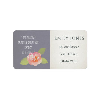 RECEIVE WHAT WE EXPECT TO RECEIVE FLORAL MONOGRAM ADDRESS LABEL