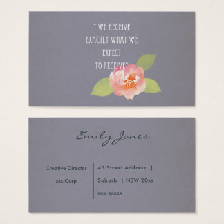 RECEIVE WHAT WE EXPECT TO RECEIVE PINK FLORAL BUSINESS CARD