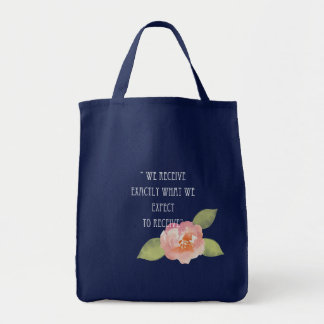 RECEIVE WHAT WE EXPECT TO RECEIVE PINK FLORAL TOTE BAG