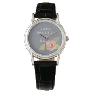 RECEIVE WHAT WE EXPECT TO RECEIVE PINK FLORAL WRIST WATCH