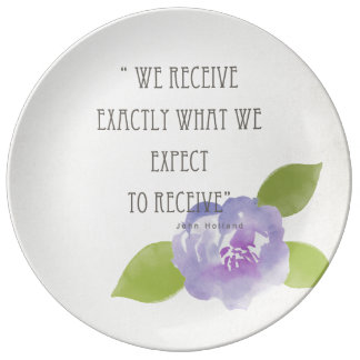 RECEIVE WHAT WE EXPECT TO RECEIVE PURPLE FLORAL PORCELAIN PLATES