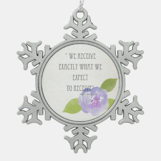 RECEIVE WHAT WE EXPECT TO RECEIVE PURPLE FLORAL SNOWFLAKE PEWTER CHRISTMAS ORNAMENT