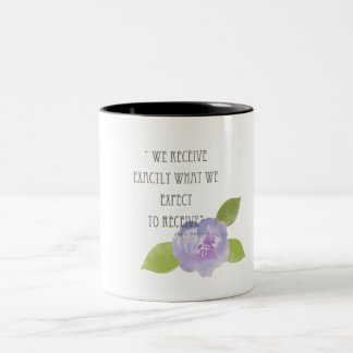 RECEIVE WHAT WE EXPECT TO RECEIVE PURPLE FLORAL Two-Tone COFFEE MUG