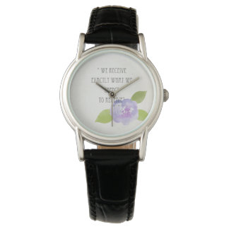 RECEIVE WHAT WE EXPECT TO RECEIVE PURPLE FLORAL WATCH