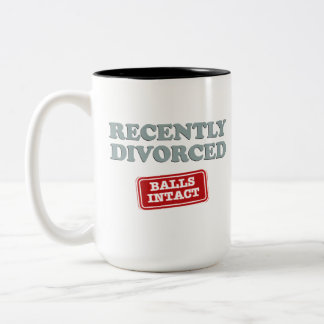 Recently Divorced, Balls Intact Two-Tone Coffee Mug
