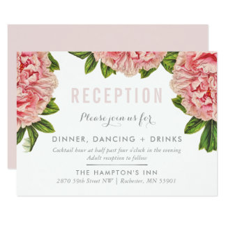 RECEPTION CARD chic pink floral peony flower
