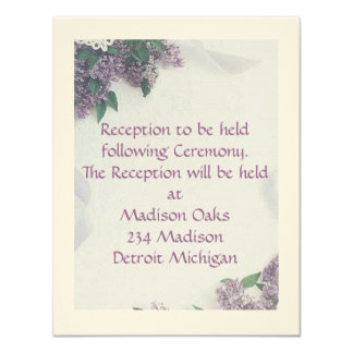 "Reception Card Matches ""Lilacs And Love"" 11 Cm X 14 Cm Invitation Card"