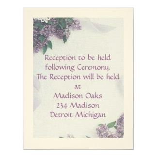 "Reception Card Matches ""Lilacs And Love"" 11 Cm X 14 Cm Invitation Card"