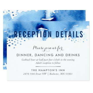RECEPTION CARD stylish watercolor blush dark blue