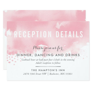RECEPTION CARD stylish watercolor blush pink grey