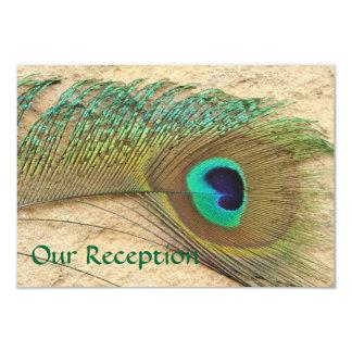 RECEPTION CARDS PEACOCK FEATHER  BEACH WEDDING 9 CM X 13 CM INVITATION CARD