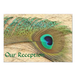 RECEPTION CARDS PEACOCK FEATHER MATCHING INVITATIO 9 CM X 13 CM INVITATION CARD