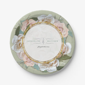 Reception Decor French Blush Rose Wreath Floral Paper Plate