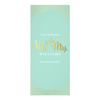 RECEPTION DINNER MENU mini gold confetti mint Card