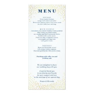 RECEPTION DINNER MENU mini gold confetti navy blue Card