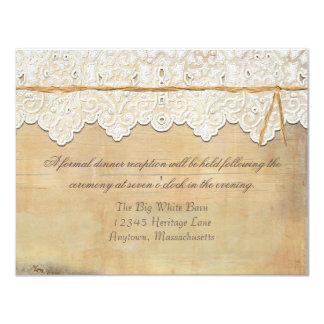Reception Elegant Rustic Country Western Lace Wood 11 Cm X 14 Cm Invitation Card