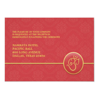 "Reception Indian Style Flat Card 5"" X 7"" Invitation Card"