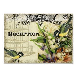 Reception Invitation, Yellow Song Bird Cage Floral 11 Cm X 16 Cm Invitation Card