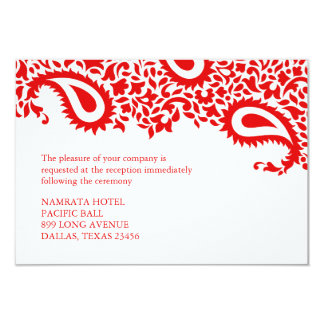 Reception Paisley Indian Style Wedding Flat Card Personalized Announcement