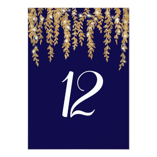 Reception Table Number Modern Willow Leaf Twinkle