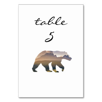 Reception Table Number Rustic Forest Bear